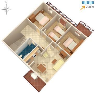 Slatine, Pôdorys v ubytovacej jednotke apartment, dopusteni kucni ljubimci i WIFI.