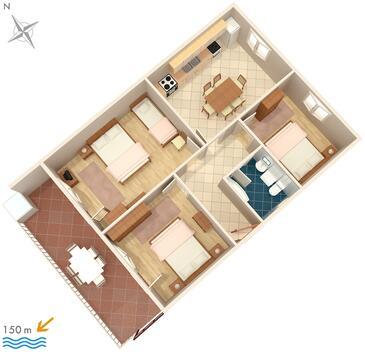 Kanica, Půdorys v ubytování typu apartment, WiFi.