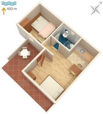 Okrug Gornji, Půdorys v ubytování typu apartment, WIFI.
