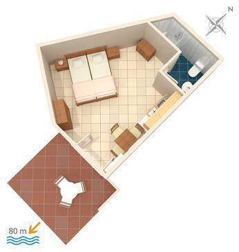 Mavarštica, Plan kwatery w zakwaterowaniu typu studio-apartment, WiFi.