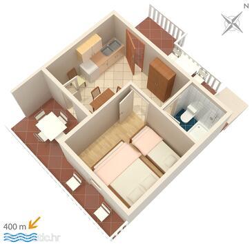 Sveta Nedilja, Půdorys v ubytování typu apartment, domácí mazlíčci povoleni a WiFi.