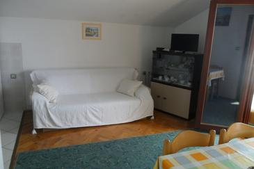 Kožino, Living room in the apartment, air condition available and WiFi.
