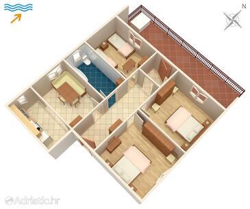 Arbanija, Plan in the apartment.