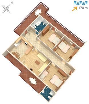 Arbanija, Pôdorys v ubytovacej jednotke apartment, dopusteni kucni ljubimci i WIFI.