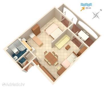 Slatine, Plan in the studio-apartment, WIFI.