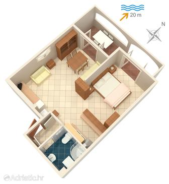 Slatine, Plan in the studio-apartment, WiFi.