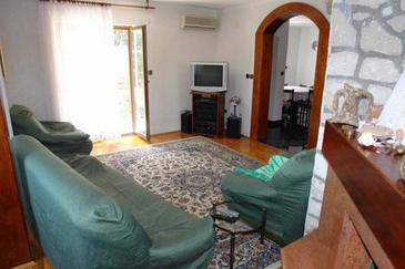 Betina, Living room in the apartment, dostupna klima, dopusteni kucni ljubimci i WIFI.