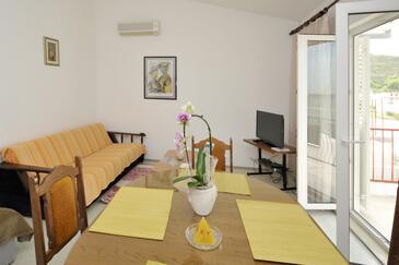 Dugi Rat, Camera di soggiorno nell'alloggi del tipo apartment, condizionatore disponibile, animali domestici ammessi e WiFi.