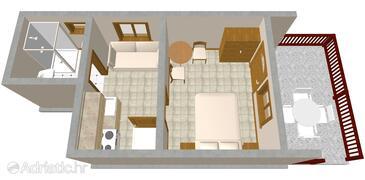 Komiža, Plan in the studio-apartment, WIFI.