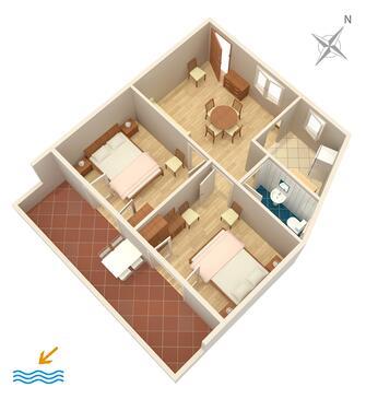 Hvar, Plan kwatery w zakwaterowaniu typu apartment, dopusteni kucni ljubimci i WIFI.