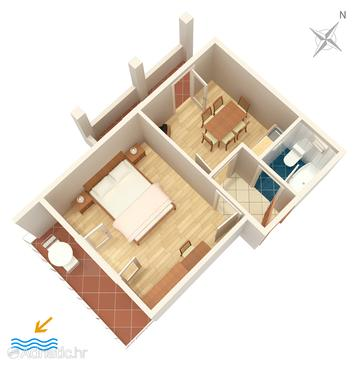 Hvar, Plan in the apartment, dopusteni kucni ljubimci i WIFI.