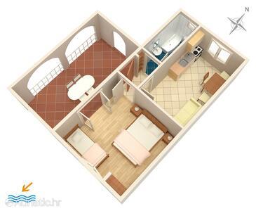 Rukavac, Nacrt u smještaju tipa apartment, kućni ljubimci dozvoljeni i WiFi.