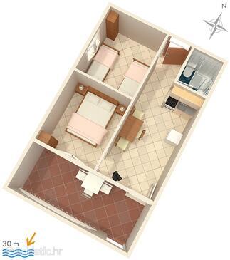 Rukavac, Půdorys v ubytování typu apartment, WiFi.