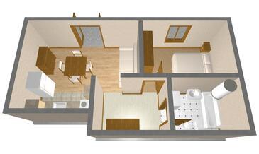 Vis, Půdorys v ubytování typu apartment, domácí mazlíčci povoleni a WiFi.