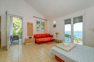 Mimice, Obývací pokoj v ubytování typu house, s klimatizací a WiFi.