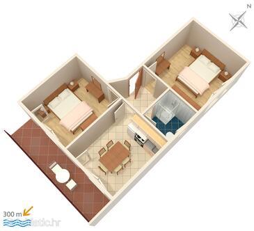 Vinišće, Půdorys v ubytování typu apartment, domácí mazlíčci povoleni a WiFi.