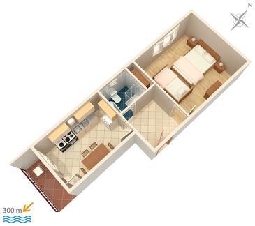 Vinišće, Plan kwatery w zakwaterowaniu typu apartment, dopusteni kucni ljubimci.