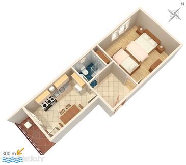 Vinišće, Nacrt u smještaju tipa apartment, kućni ljubimci dozvoljeni i WiFi.