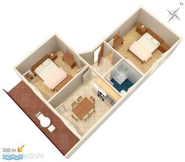 Vinišće, Plan in the apartment, dopusteni kucni ljubimci.