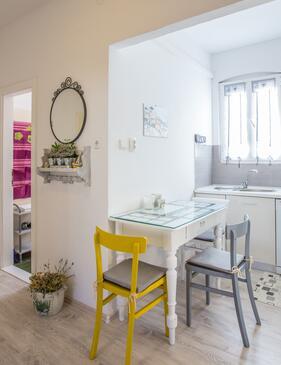 Komiža, Jedáleň v ubytovacej jednotke apartment, dostupna klima, dopusteni kucni ljubimci i WIFI.