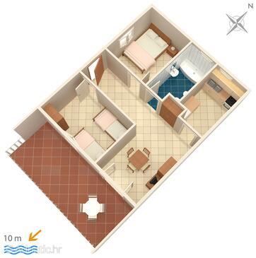 Vinišće, Plan in the apartment.