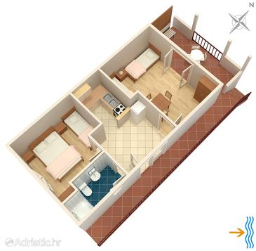 Mudri Dolac, Plan in the apartment, dopusteni kucni ljubimci.