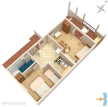 Mudri Dolac, Plan in the apartment, (pet friendly).