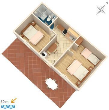 Mudri Dolac, Plan kwatery w zakwaterowaniu typu apartment, dopusteni kucni ljubimci.
