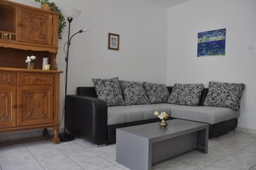 Kampor, Obývacia izba v ubytovacej jednotke apartment, WiFi.