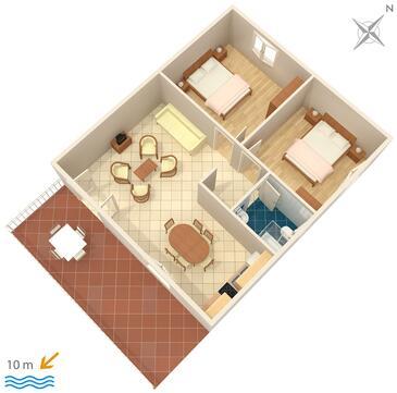 Zavala, Plan in the apartment, dopusteni kucni ljubimci i WIFI.
