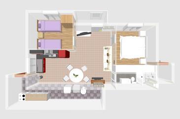 Zaglav, Grundriss in folgender Unterkunftsart apartment, Haustiere erlaubt und WiFi.