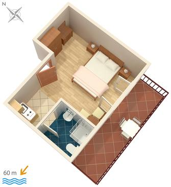 Jelsa, Plan in the studio-apartment, dopusteni kucni ljubimci i WIFI.