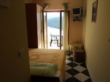 Rabac, Ložnice v ubytování typu room, s klimatizací a WiFi.