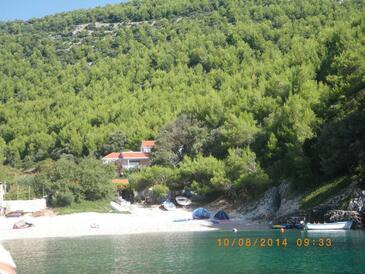 Bratinja Luka, Korčula, Obiekt 12764 - Willa przy morzu ze żwirową plażą.