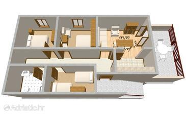 Gršćica, Půdorys v ubytování typu apartment, domácí mazlíčci povoleni.