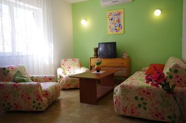 Jadrija, Obývacia izba v ubytovacej jednotke house, dostupna klima, dopusteni kucni ljubimci i WIFI.