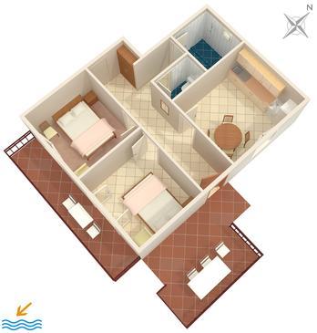 Gršćica, Plan kwatery w zakwaterowaniu typu apartment, WiFi.