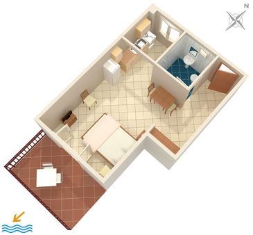Gršćica, Plan kwatery w zakwaterowaniu typu studio-apartment, WIFI.