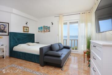 Lokva Rogoznica, Obývací pokoj v ubytování typu apartment, domácí mazlíčci povoleni a WiFi.