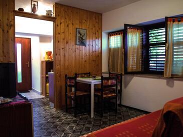 Jadranovo, Jídelna v ubytování typu studio-apartment, domácí mazlíčci povoleni.