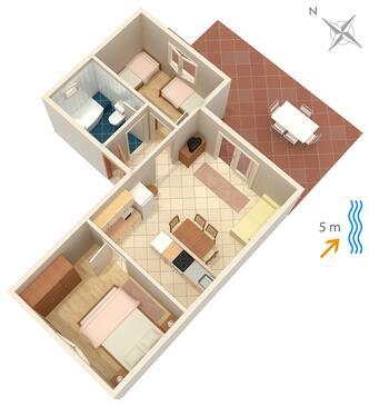 Lumbarda, Pôdorys v ubytovacej jednotke apartment, domáci miláčikovia povolení a WiFi.