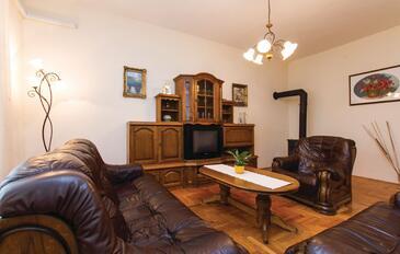 Kršan, Obývacia izba v ubytovacej jednotke apartment, dostupna klima, dopusteni kucni ljubimci i WIFI.