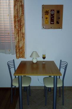 Igrane, Blagovaonica u smještaju tipa studio-apartment, dostupna klima i WiFi.