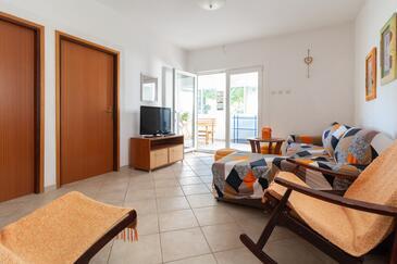 Privlaka, Salon dans l'hébergement en type apartment, climatisation disponible et WiFi.