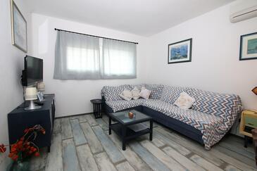 Vinjerac, Living room in the apartment, dostupna klima, dopusteni kucni ljubimci i WIFI.