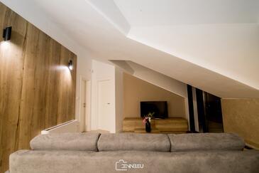 Vidalići, Obývací pokoj v ubytování typu apartment, s klimatizací, domácí mazlíčci povoleni a WiFi.