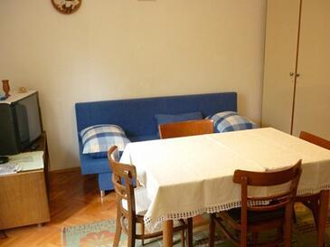 Podgora, Obývacia izba v ubytovacej jednotke apartment, dopusteni kucni ljubimci.
