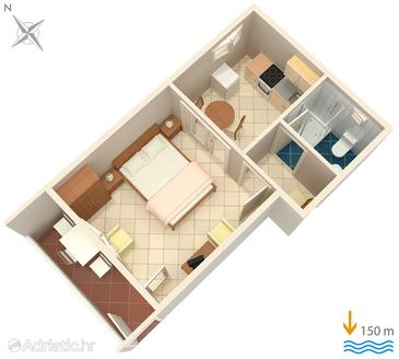 Hvar, Plan in the studio-apartment, dopusteni kucni ljubimci i WIFI.