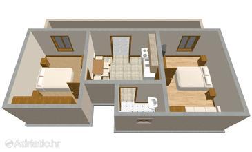 Hvar, Půdorys v ubytování typu apartment, domácí mazlíčci povoleni a WiFi.