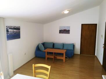 Vrsi - Mulo, Wohnzimmer in folgender Unterkunftsart apartment, Haustiere erlaubt und WiFi.